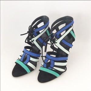 Zara Blue + Mint Lace-up Stiletto Heels NWOT